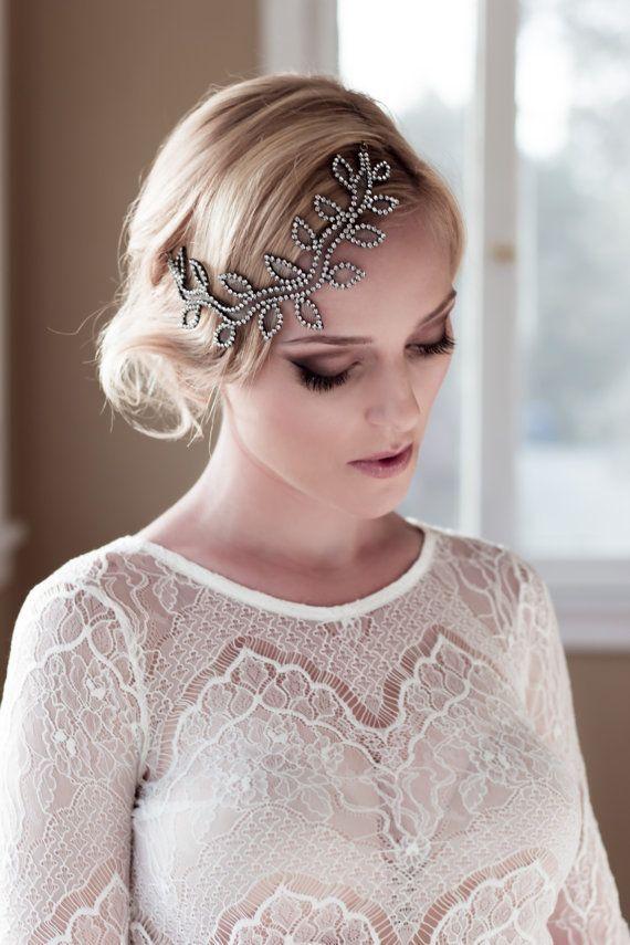 whimsical bridal headpiece with rhinestone leaves and petals rhinestone sparkle headdress laurel leaf demi