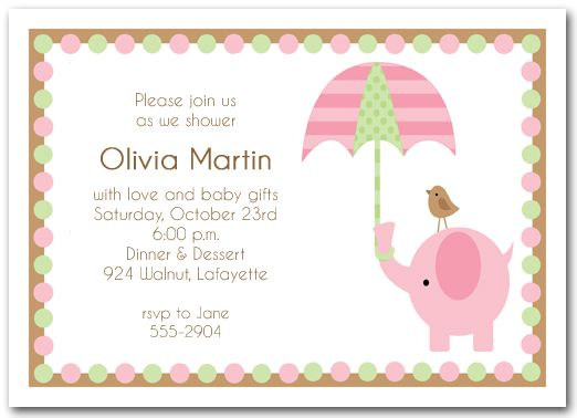 Elephant \ Umbrella Girl Baby Baby girl invitations, Pink - how to word a baby shower invitation