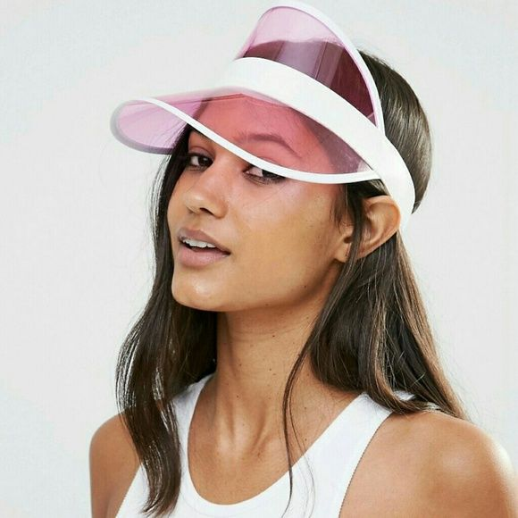 9403f46434c Pink Transparent Sun Visor Hat Condition  NWT Type  Hat Style  Sun Visor  Color  Pink Features  Has stretch in the back Protection  UV100 Closet  Note  Faux ...