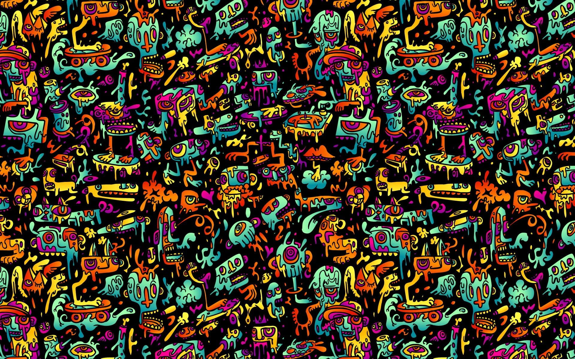 Multicolored Doodle Wallpaper Abstract Colorful 1080p Wallpaper Hdwallpaper Desktop Psychedelic Wallpaper Doodle Wallpaper Abstract Wallpaper