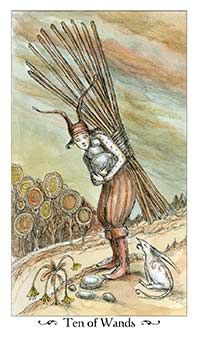 The meaning of Ten of Wands from the Paulina Tarot deck: You