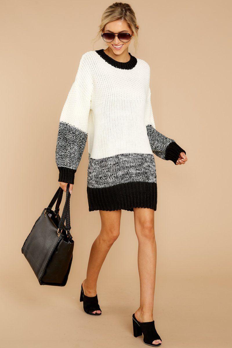44e5925b91d Chic Black Multi Knit Sweater - Color Block Sweater Dress - Top -  48 – Red  Dress Boutique