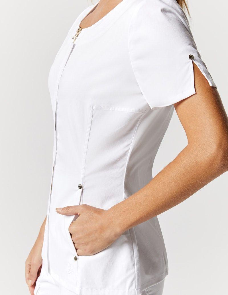Hidden Zipper Top in White - Medical Scrubs by Jaanuu