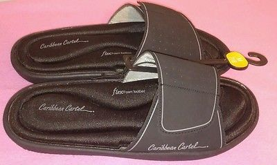 73afa9d530b4d Woens Caribbean Cartel Sandals sz 7/8 Medium Flex Foam Footbed Black ...