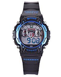 Kids Boys Girls Sports Digital Water Resistant Eyes Watch w/ Back Light Alarm Stopwatch Blue FSX-521B