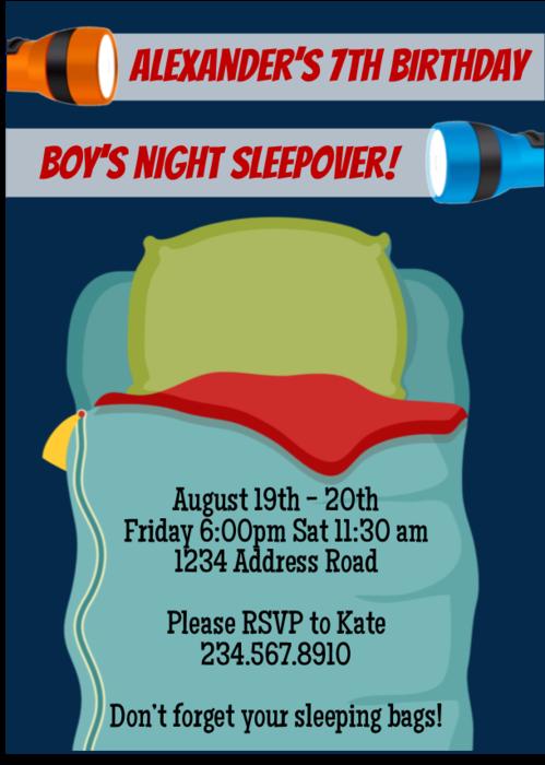 boys night sleepover invitation 1