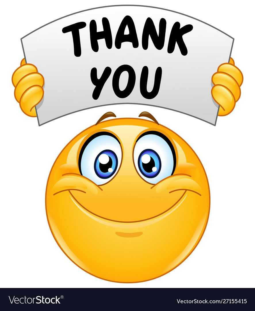 Emoticon with thank you sign vector image on VectorStock