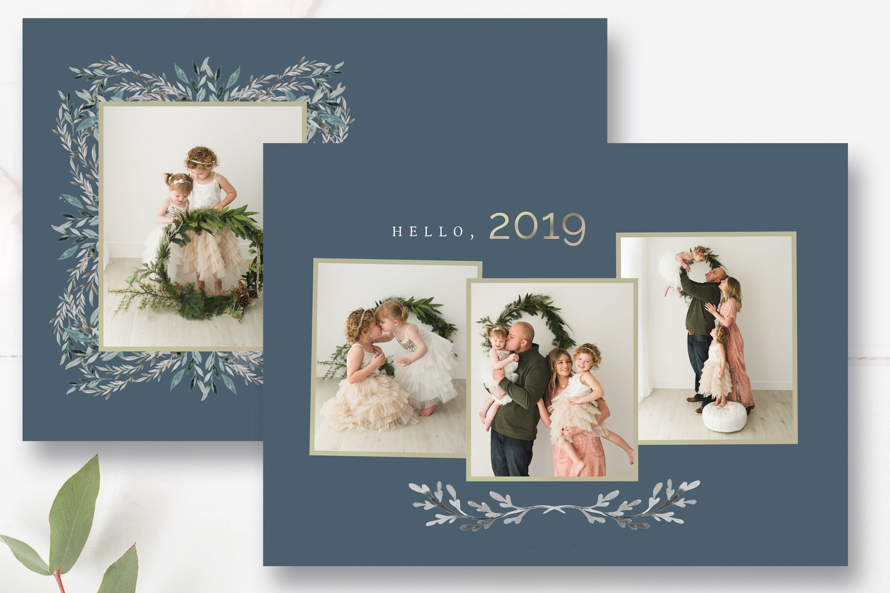 New Years Photo Card Template, Happy Holidays,