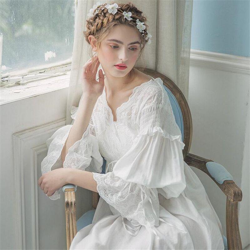5791559019 Vintage Gown Women Dress Cotton Sleepwear Nightgown Casual Sleepwear Women  Night wear European Retro Style Dress