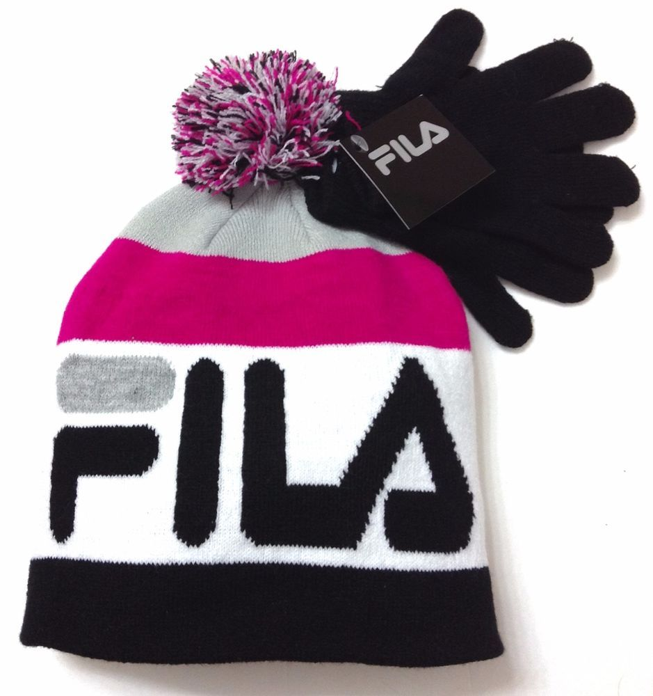 ee6ba831fef New Women(or men) FILA POM BEANIE   GLOVES Black White Gray Pink Winter  Knit Hat  Fila  Beanie  Winter