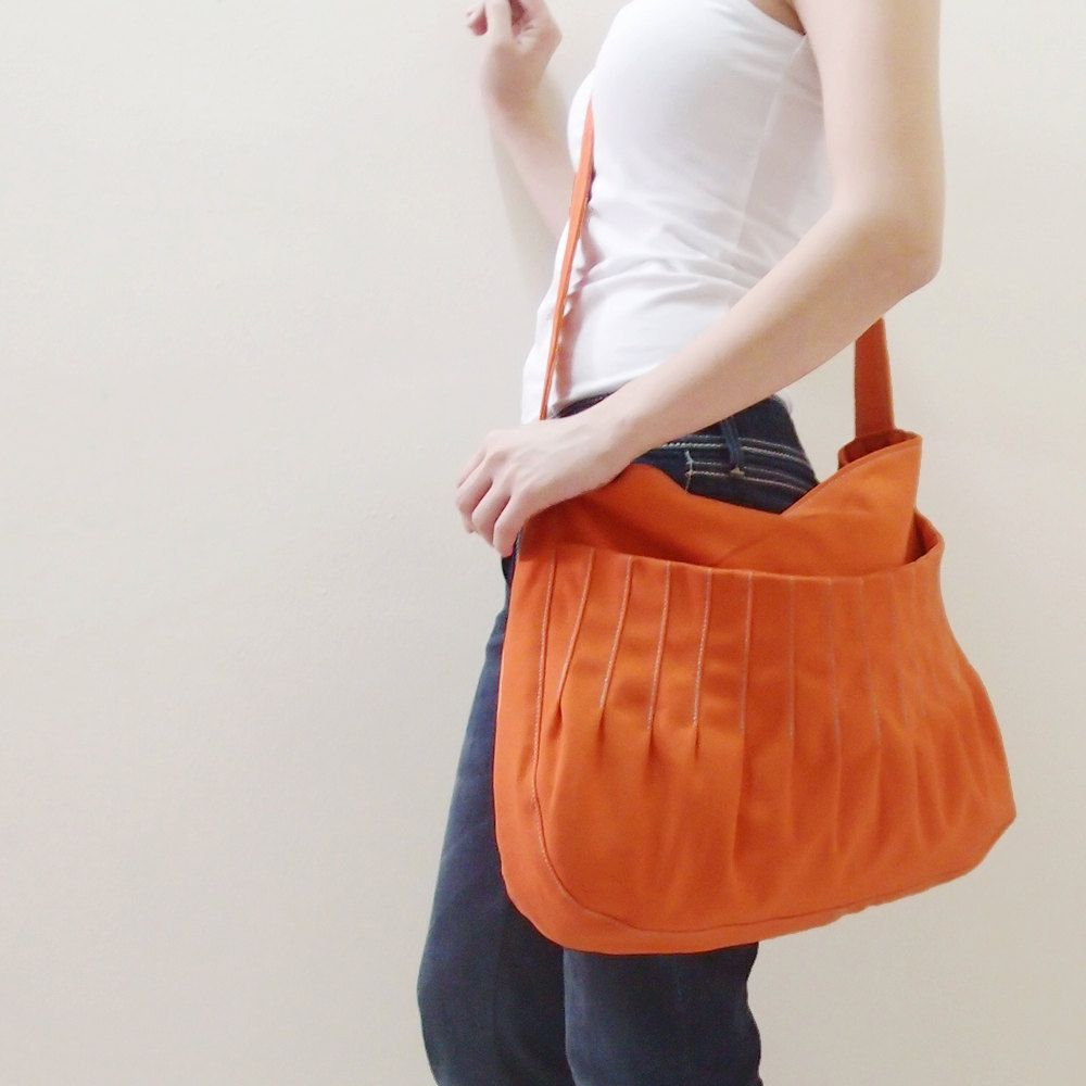 62dc6c602c57 Halloween Sale - Orange Canvas Women s Single Strap Hobo bag ...