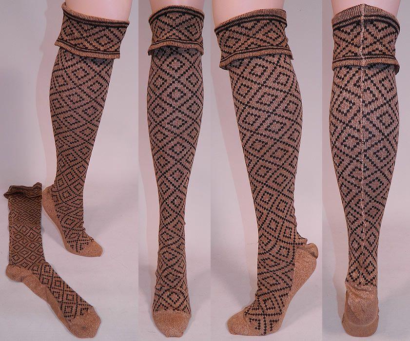 1103fe54e Victorian Brown   Black Knit Argyle Diamond Pattern Thigh High Stockings…
