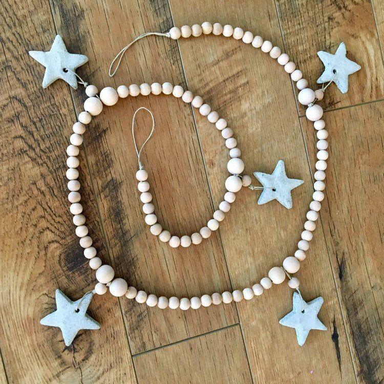 Christmas wood bead garland, Christmas garland with stars
