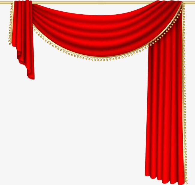 Vector Red Curtain Curtains Cartoon PNG And