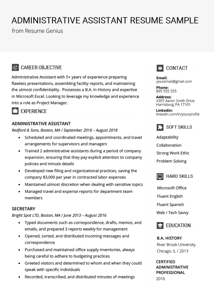 administrative assistant resume example template