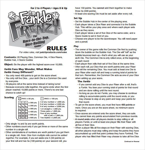 Farkle Score Rules Sheet  Games    Scores Yard Games