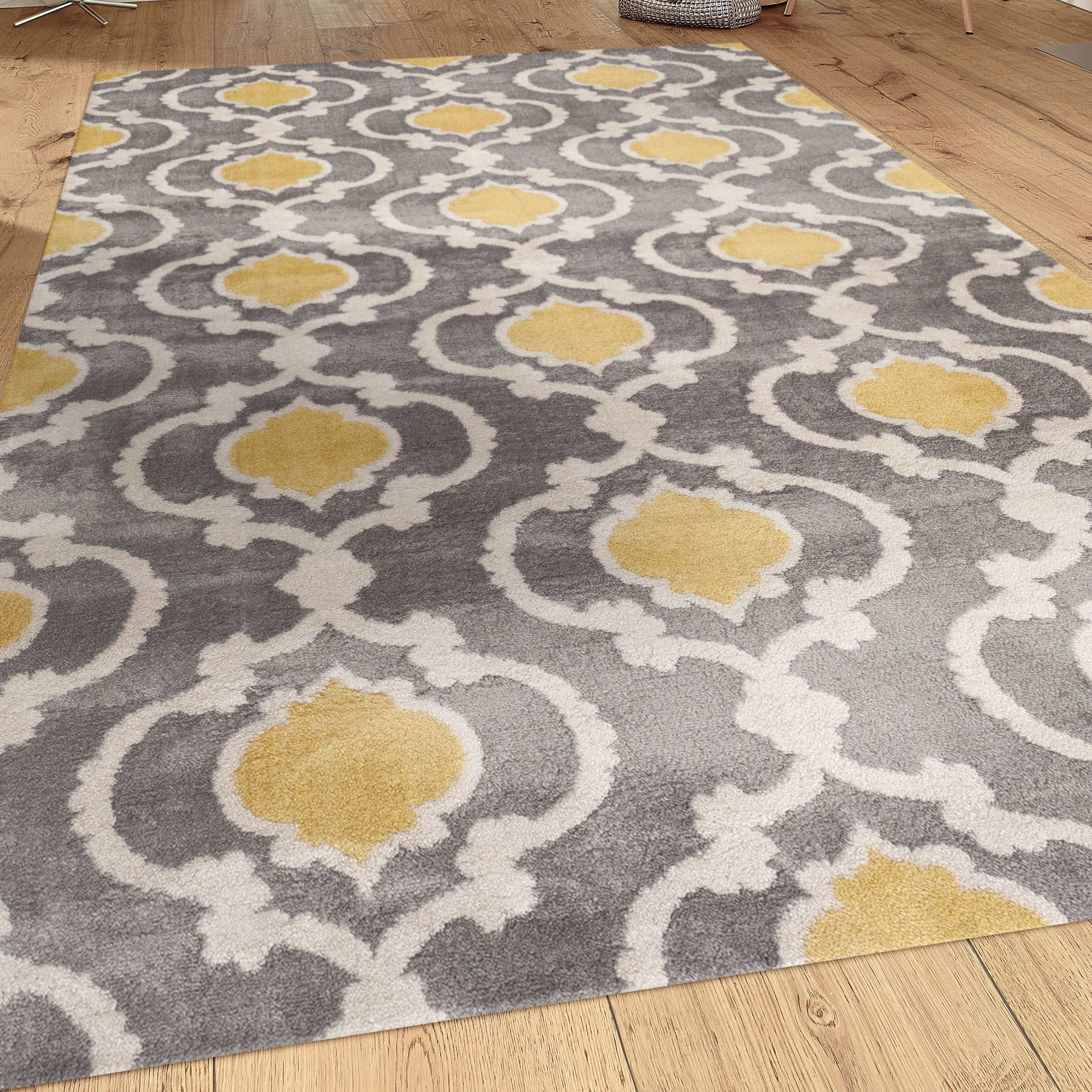 Grey Yellow Rug For A Room With Bright Blue Navy Accents