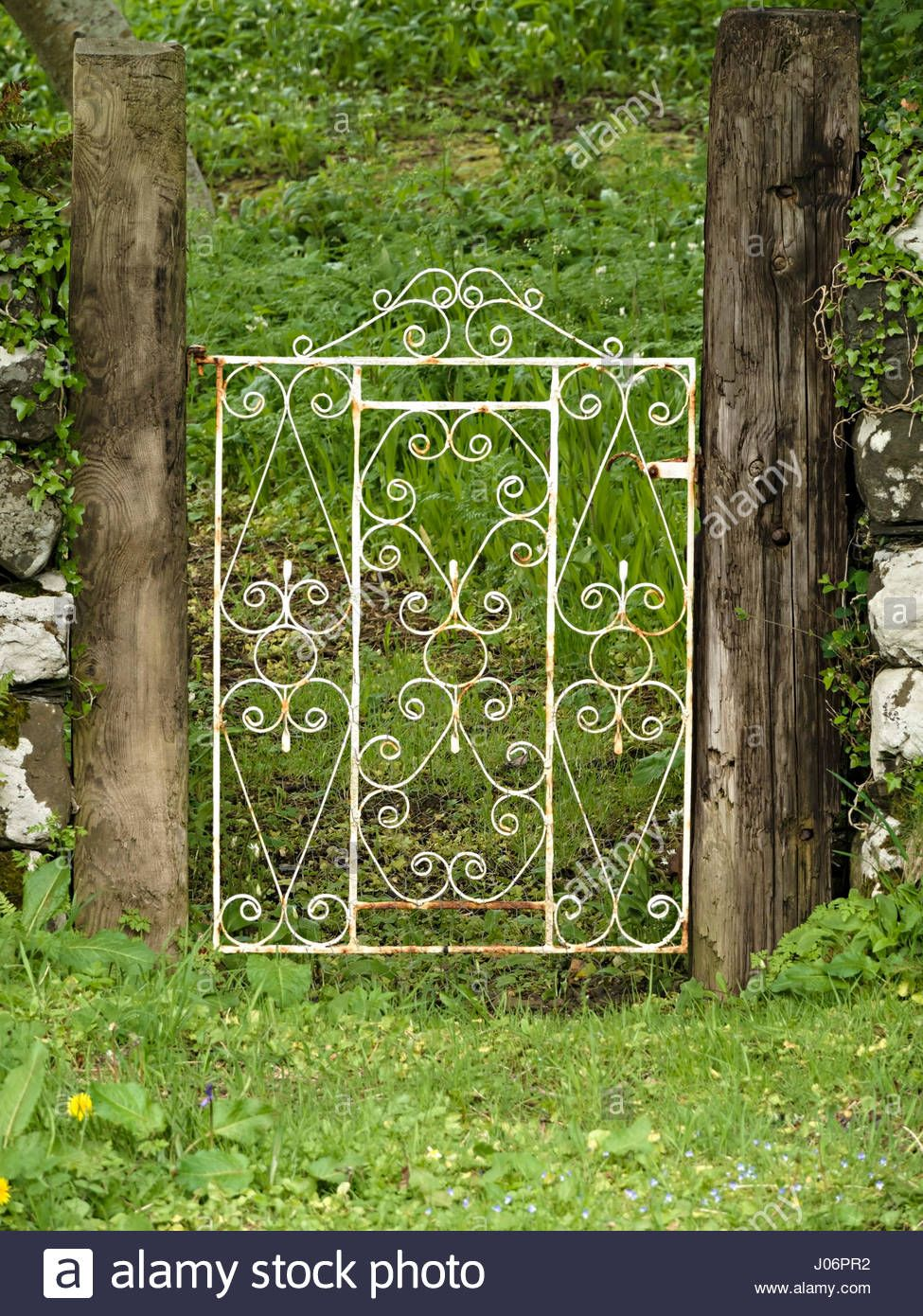 Old White Painted Ornate Wrought Iron Garden Gate With Swirls