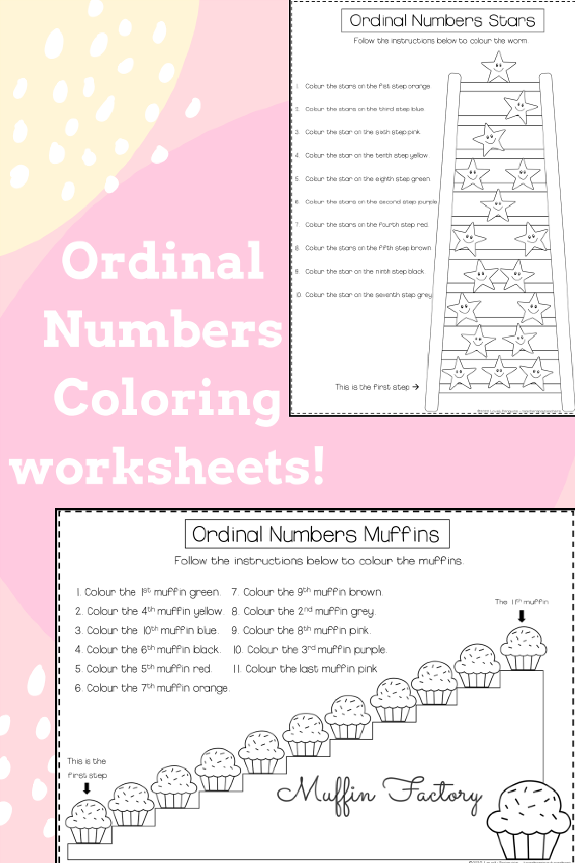 Ordinal Numbers Coloring Worksheets In