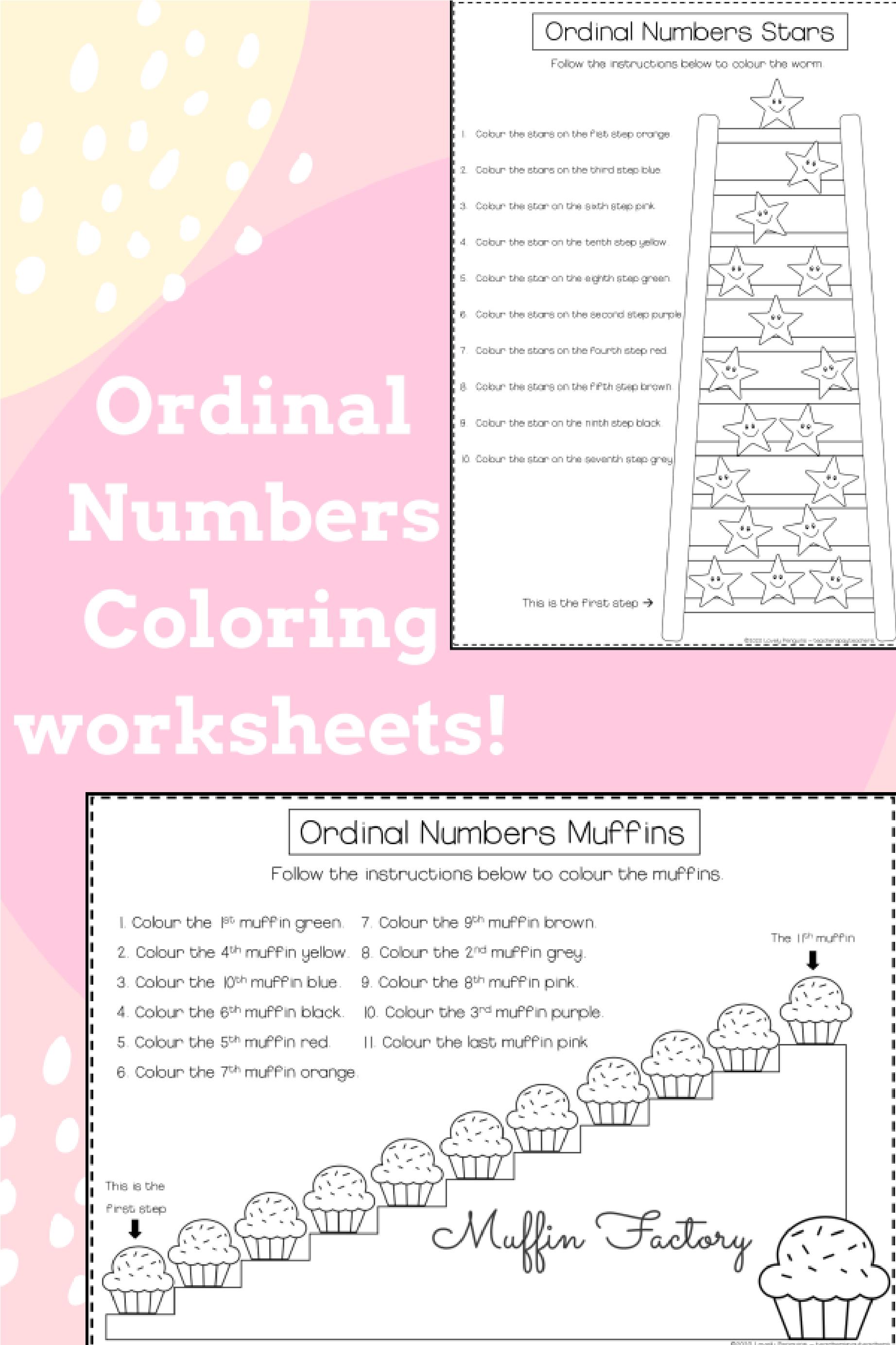 Ordinal Numbers Coloring Worksheets In