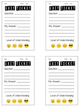 image regarding Exit Tickets Printable known as Degrees of Comprehension Emoji Exit Ticket Schooling suggestions