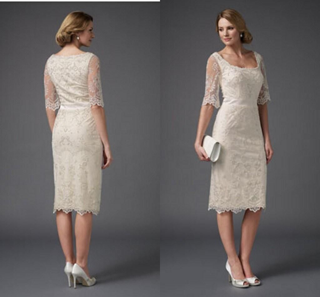 Elegant Knee Length Short Light Champagne Mother Of The Bride Groom Lace Dresses With H White Dress Bride Mother Of The Bride Plus Size Mother Of Groom Dresses