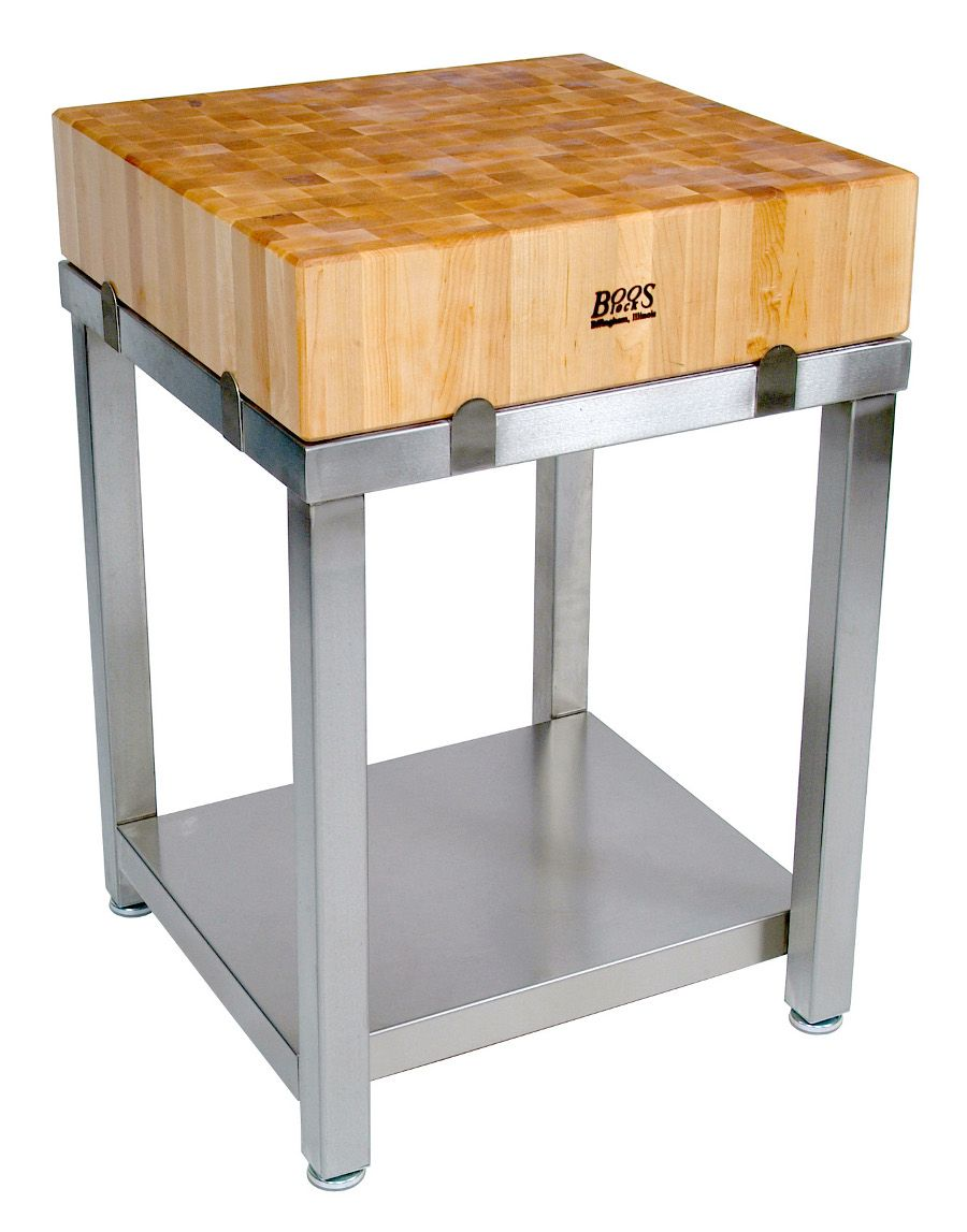 John Boos Cucina Americana Laforza Butcher Block 24 X 24 Table U0026 Henckels  Knife Block Set