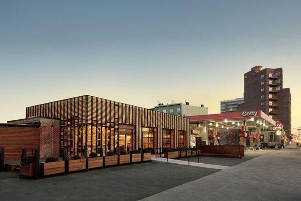 The facade is rolling restaurant design breadbox