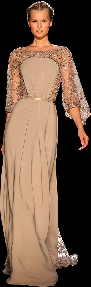 Soft beige gown with gold lace shoulders and sleeves - Elie Saab Haute Couture, Fall/Winter 2012-2013