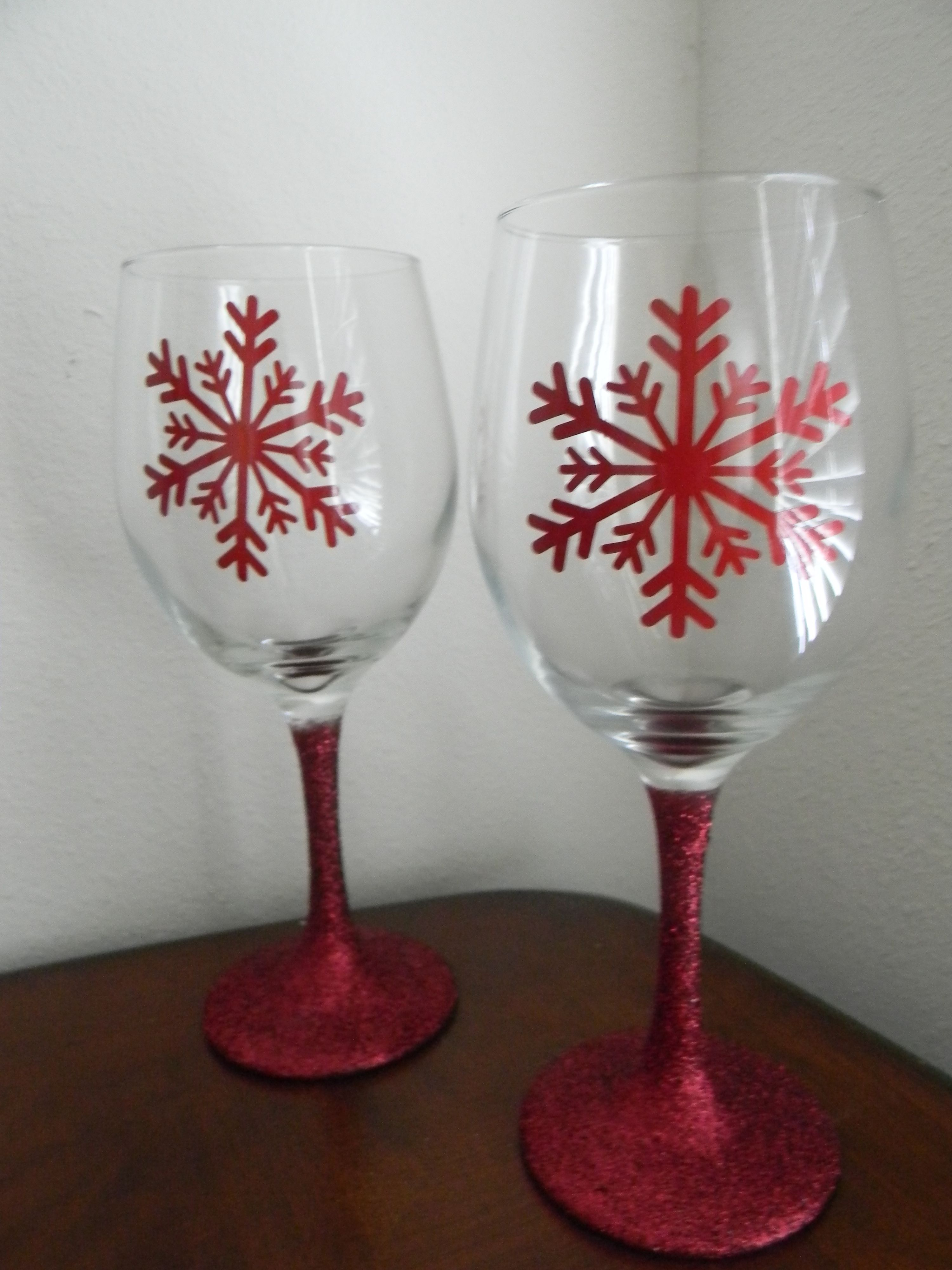 Glitter Stem Vinyl Snowflake Wine Glasses Christmas Wine Glasses Snowflake Wine Glasses Christmas Wine Glasses Diy
