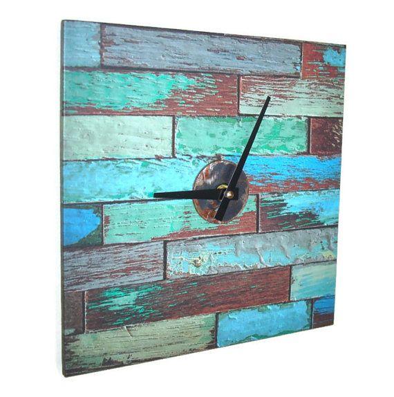 Custom Wood Wall Clocks | Chippy Paint Wall Clock, 10 Inch ...