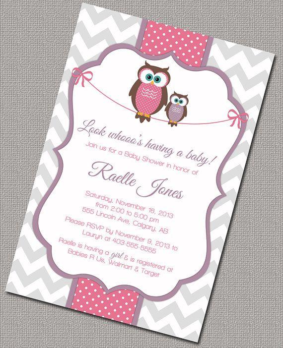 Baby shower invitations for baby girls owl baby shower invites owl baby shower invitation baby girl purple pink gray chevron digital printable file 781 on etsy 1500 filmwisefo