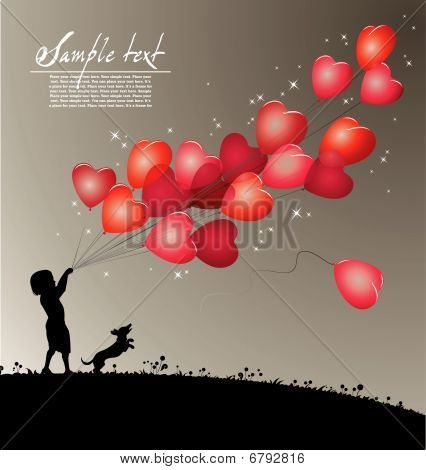 silhouette of a boy holding red heart-shaped balloons