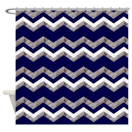 Nautical Blue Chevron Shower Curtain By Focusedonyou Cafepress Blue Chevron Shower Curtain Nautical Blue Blue Chevron