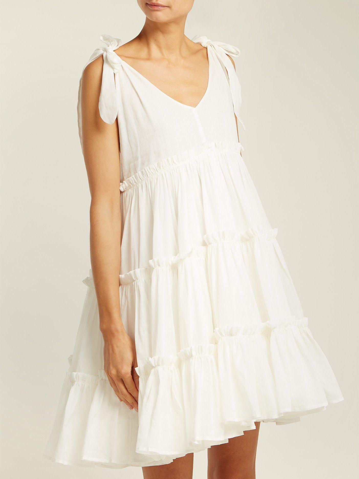 Tiered Ruffle Ramie Mini Dress Innika Choo Matchesfashion Com Uk Mini Dress Babydoll Dress Pattern Tiered Ruffle Dress [ 1870 x 1403 Pixel ]