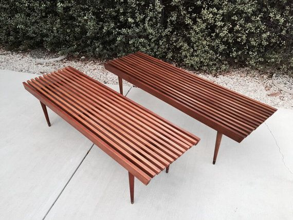 Mid Century Wood Slat Bench Coffee Table Seating By Nasco Yugoslavia