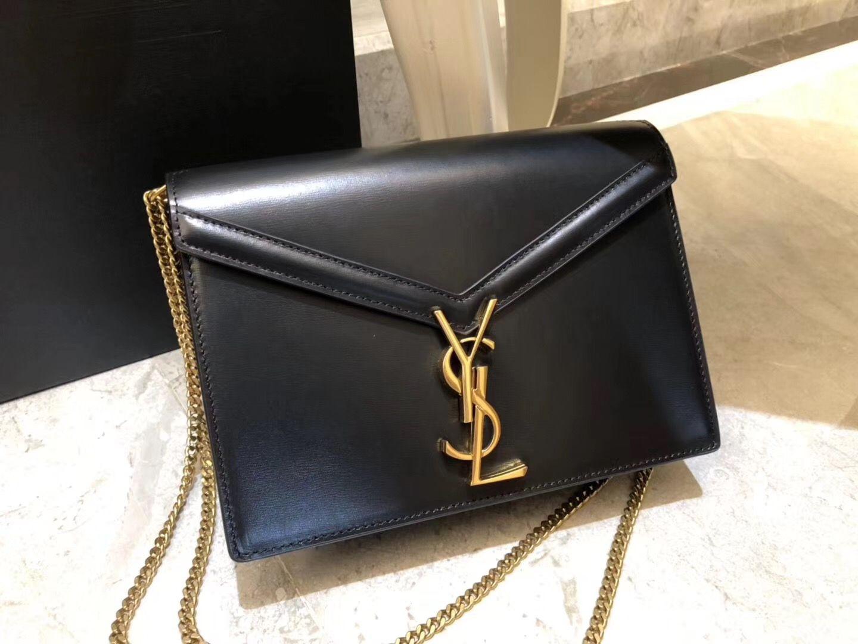 Saint Laurent Cassandra Chain Envelope Flap Bag in Black Leather in ... af2684c3a1315