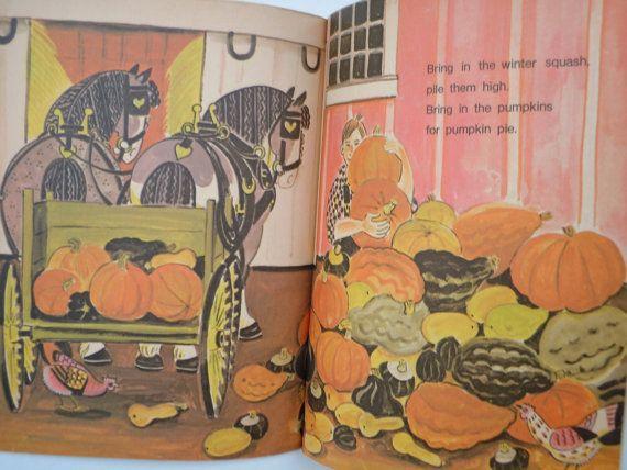 Dahlov Ipcar Bring in the Pumpkins Hard Scrabble Harvest Fall