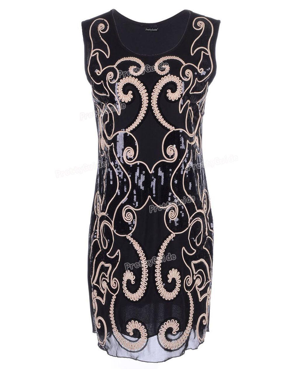 PrettyGuide Women 1920s Vintage Totem Swirling Art Deco Pattern Sequin  Embellished Shift Dress Great Gatsby Flapper 6141b7f6f23b9