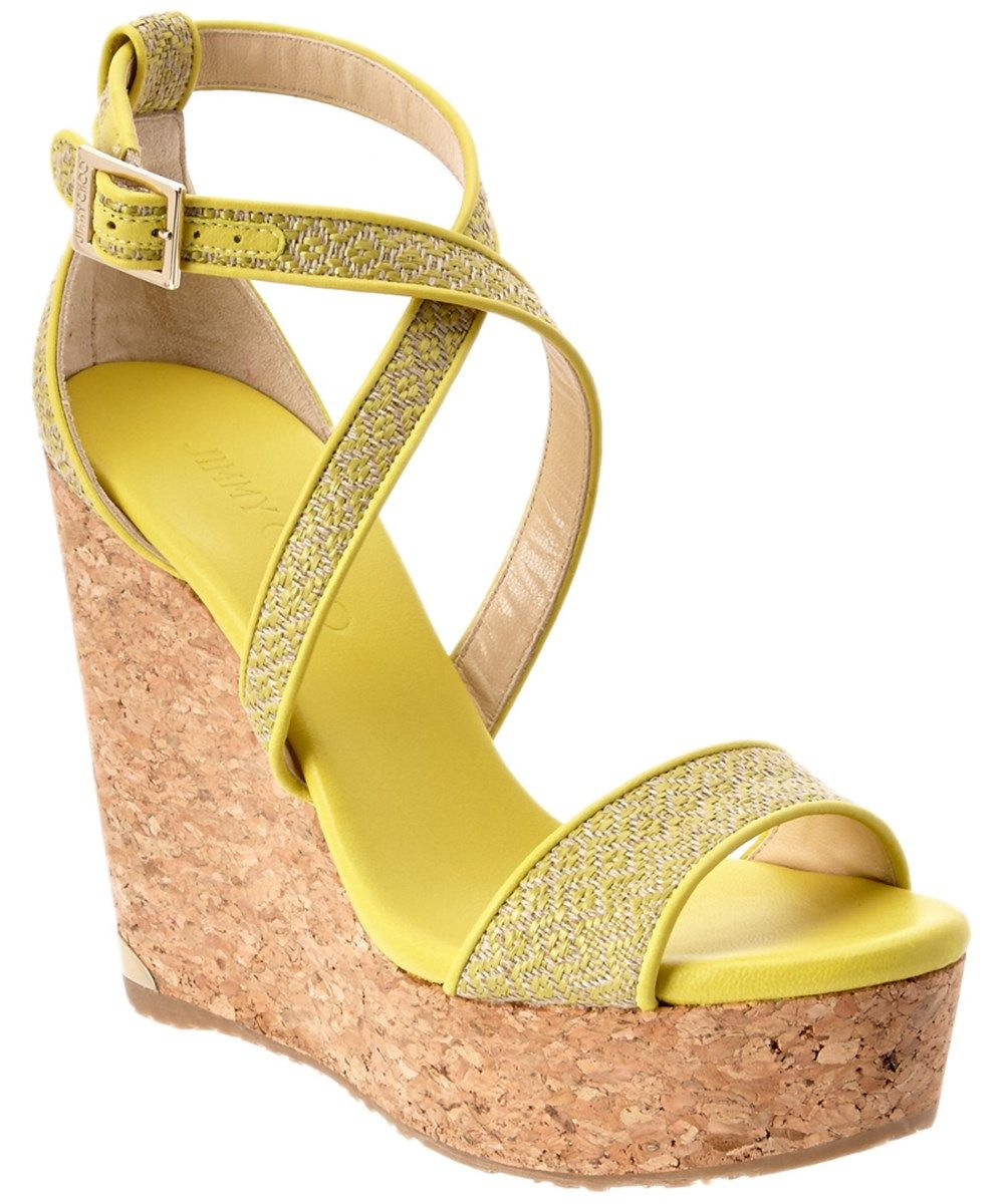 2b1b450ec9 JIMMY CHOO Jimmy Choo Portia 120 Fabric And Leather Wedge Sandal'. # jimmychoo #shoes #sandals