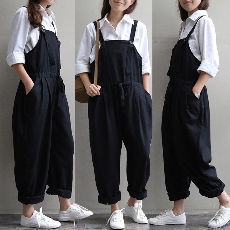 cc6fa9ebcb95 Women s Casual Loose Pants Cotton+Linen Jumpsuit Strap Harem Trousers  Overalls