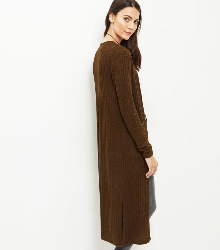 Olive Green Fine Knit Ribbed Longline Cardigan | Jumper and Nordstrom