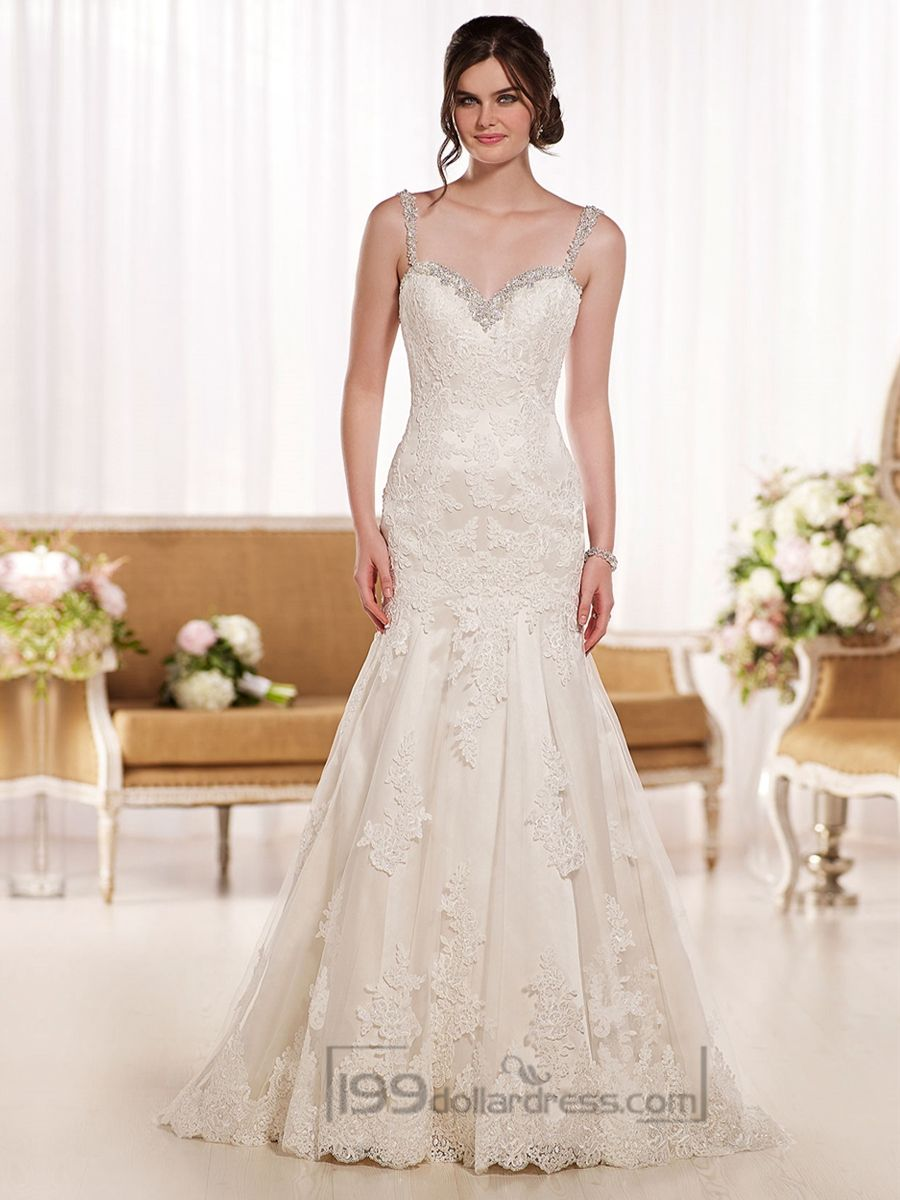 Low back lace mermaid wedding dress  Beading Straps Sweetheart Fit and Flare Lace Wedding Dresses with
