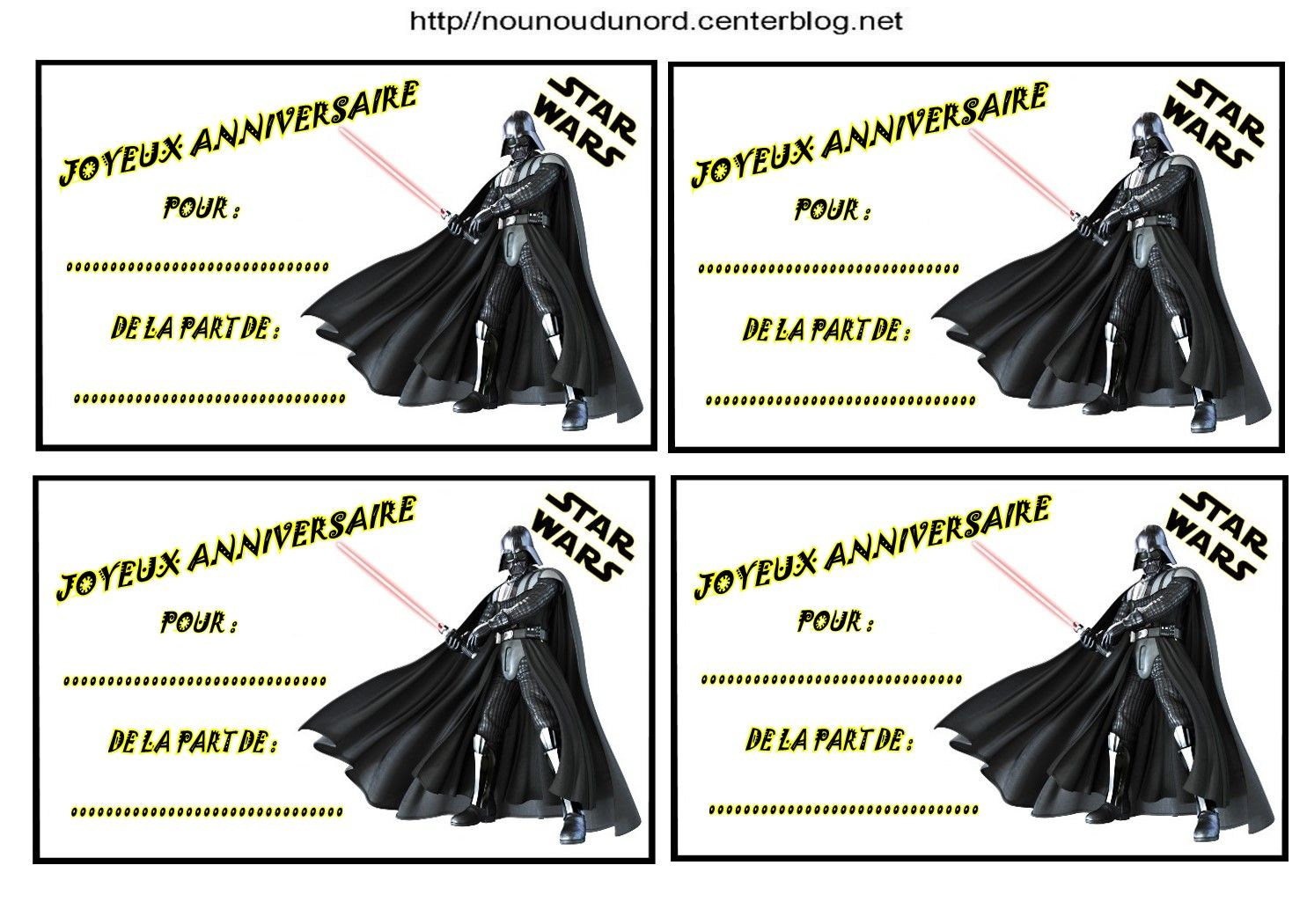 anniversaire etiquettes invitations star wars pour anniversaire. Black Bedroom Furniture Sets. Home Design Ideas