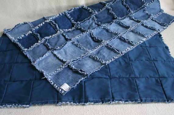 Patchwork Baby Grow Blanket Blue Jean Denim Quilt Baby Quilt Ragged Edges Etsy