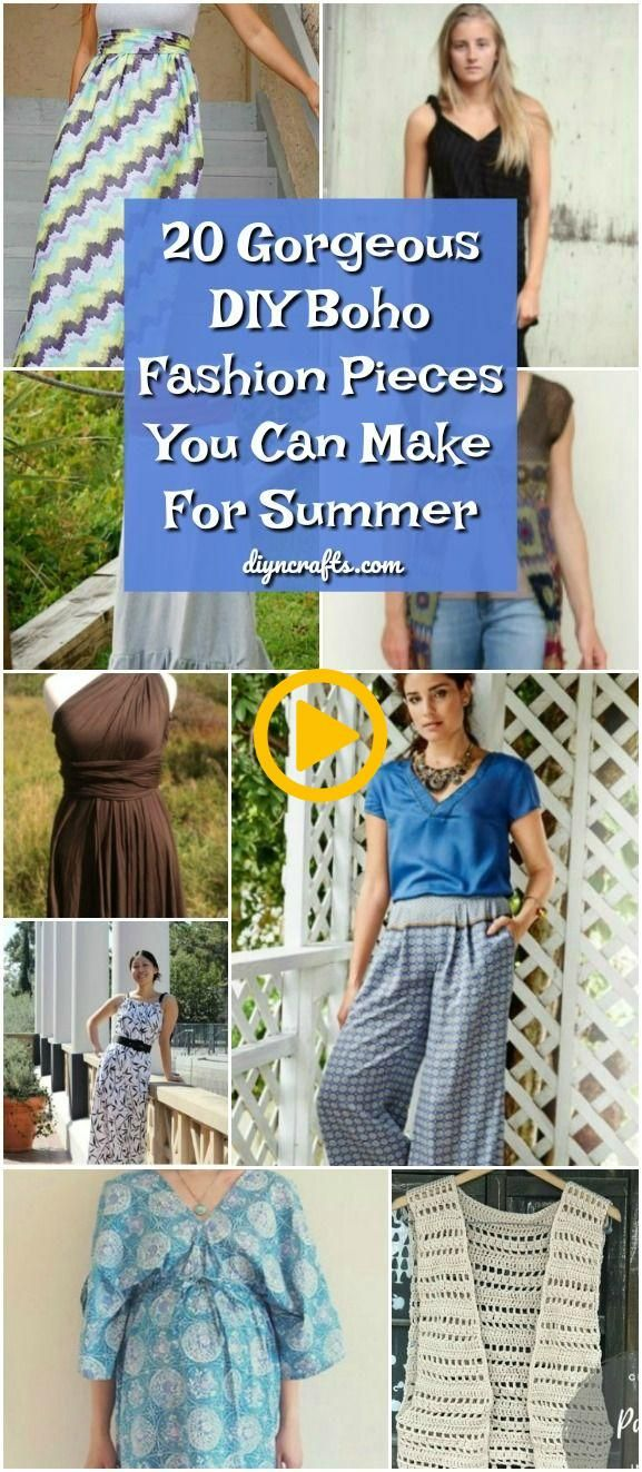 20 Gorgeous DIY Boho Fashion Pieces You Can Make For Summer! #diy #pattern #boh