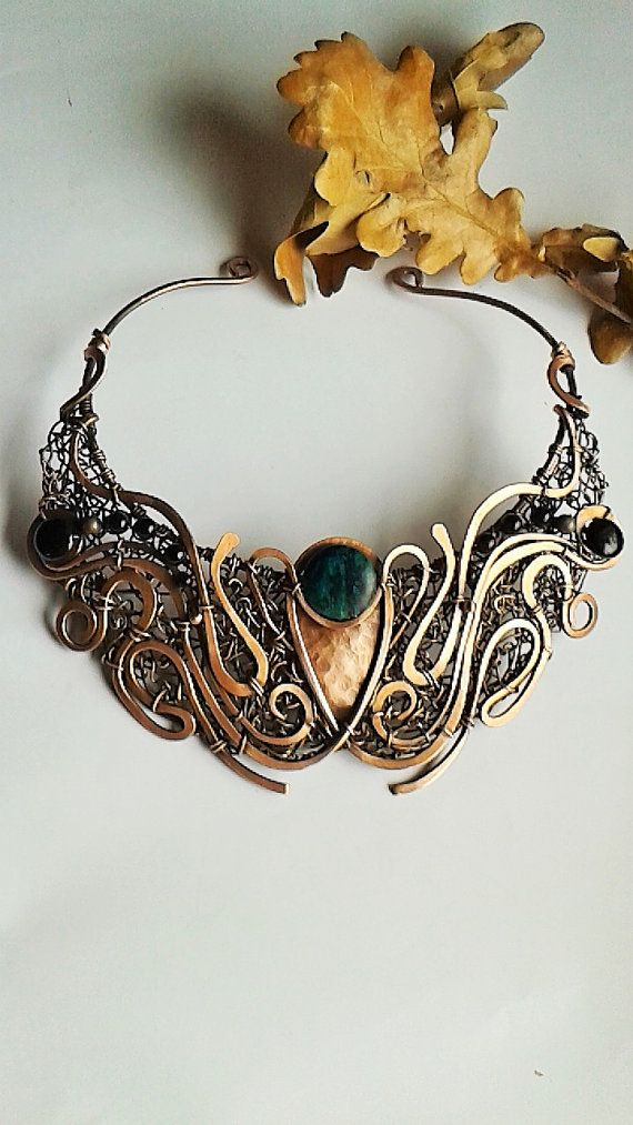 Handmade copper wire necklace with natural Turquoise and Onyx I get tangled very easy ...I adore to create and wear big necklaces.  I love all about
