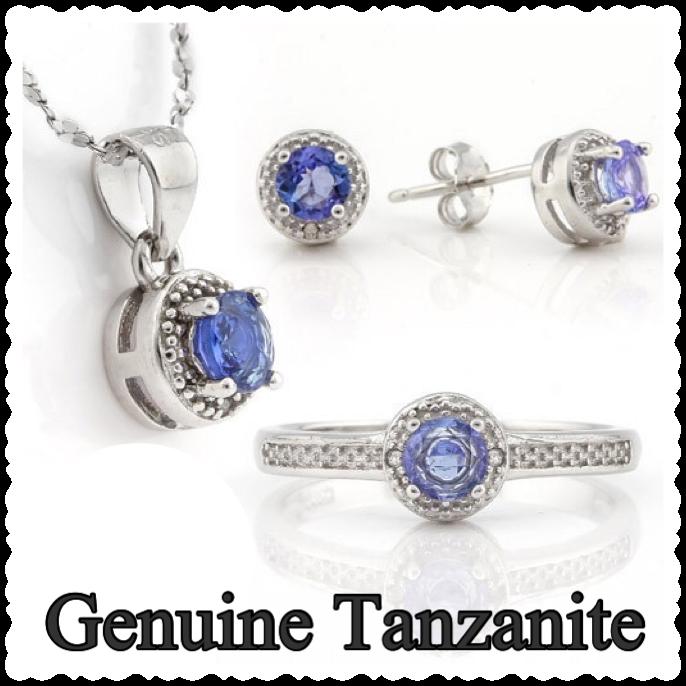 Genuine Tanzanite & Diamond Set