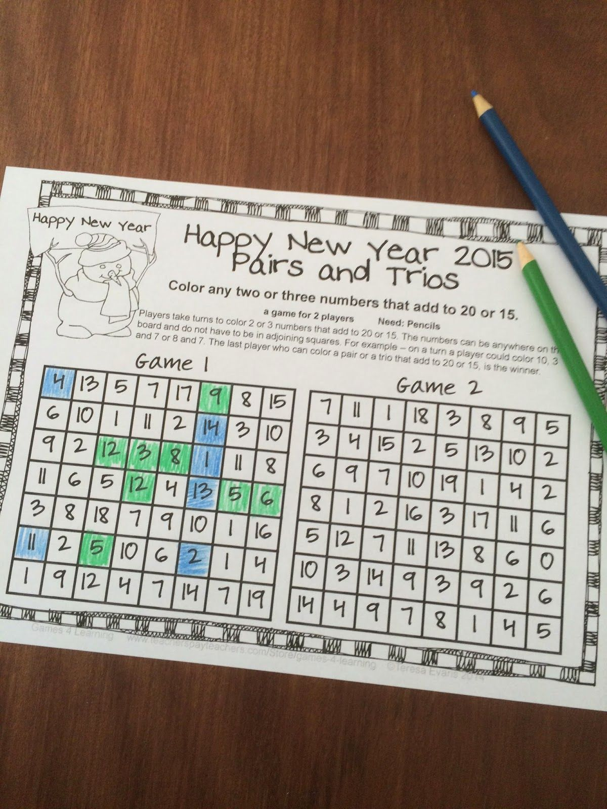 FREEBIES - New Year Math Games is a set of 4 math games by Games 4 ...