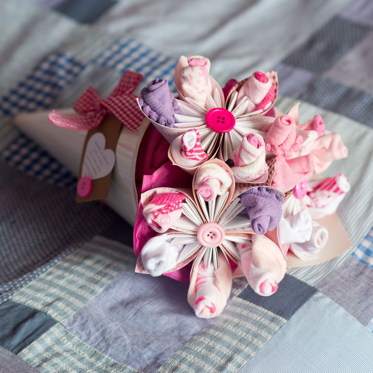 Pretty in pink newborn baby bouquet made from origami paper flowers pretty in pink newborn baby bouquet made from origami paper flowers and filled with socks and izmirmasajfo